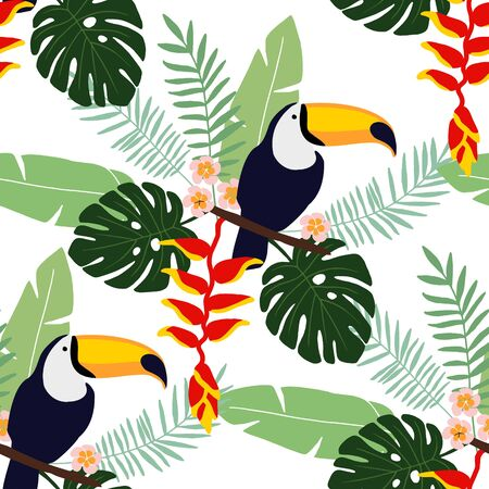 Tropical jungle seamless pattern with toucan bird, heliconia and plumeria flowers and palm leaves, flat design, illustration background Vettoriali