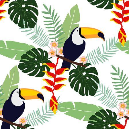 Tropischer Dschungel nahtlose Muster mit Tukan Vogel, Heliconia und Plumeriablumen und Palmblättern, flaches Design, Illustration Hintergrund