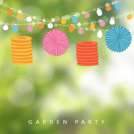 Narozeniny zahradní slavnost nebo brazilská června party, ilustrace provázkem světel, papírové lucerny a rozmazané pozadí