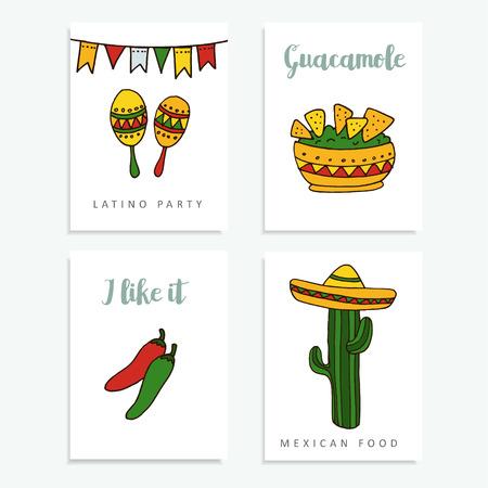 Set of  mexican cards for invitations or restaurant menu, doodle illustration backgrounds
