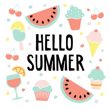 Hola tarjeta de felicitación de verano con sandía, helado, cerezas y la bebida, la ilustración de fondo