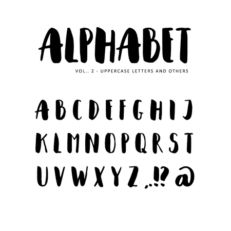 sans: alphabet: Sans serif font. Isolated letters written with marker, ink. Calligraphy, lettering.