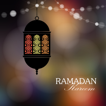 hanging string: Decorative hanging arabic lantern. String of lights. Festive colorful blurred web background, bokeh lights. Illumination.Greeting card, invitation for muslim holy month Ramadan Kareem. - Illustration