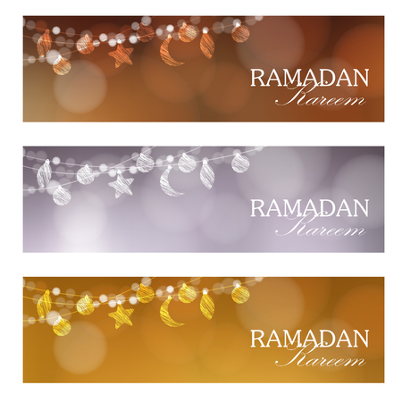 Set of web banners. Decorative strings with moon, stars, balls. Festive blurred background, bokeh lights. Card, invitation for muslim community holy month Ramadan Kareem.