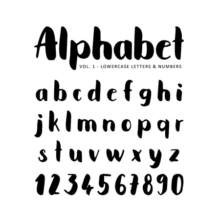 sans serif: alphabet. Sans serif font. Isolated letters written with marker, ink. Calligraphy, lettering.