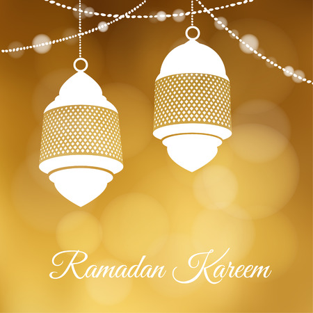 Decorative hanging arabic lanterns. Festive golden glitter blurred web background, bokeh lights. Greeting card, invitation for muslim community holy month Ramadan Kareem.