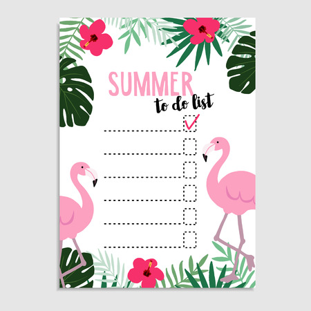 Summer greeting card, invitation. Wish list. To do list. Flamingo bird, palm leaves, hibiscus flowers, cheese plant. Web , background. Stock illustration, flat design Illustration