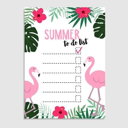 wish list: Summer greeting card, invitation. Wish list. To do list. Flamingo bird, palm leaves, hibiscus flowers, cheese plant. Web , background. Stock illustration, flat design Illustration