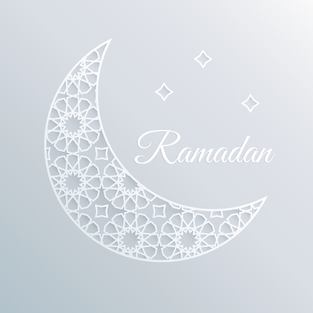 white paper: Greeting card, invitation for holly moth Ramadan. Decorative ornamental moon and stars. Arabic design, pattern.  3D white paper craft style.