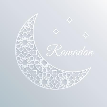 paper craft: tarjeta de felicitación, invitación a acebo polilla del Ramadán. Luna ornamental decorativa y estrellas. diseño árabe, patrón. estilo del arte de papel blanco 3D. Vectores