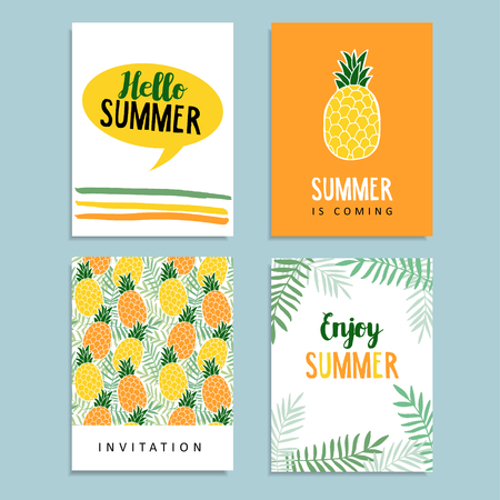 Set of summer greeting cards. Journaling cards. Birthday invitation. Pineapple fruit, palm leaves background. Tropical flat design. Illustration