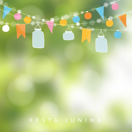 Brazilian june party, festa junina. String of lights, jar lanterns. Party decoration. Birthday garden party. Blurred background, banner.