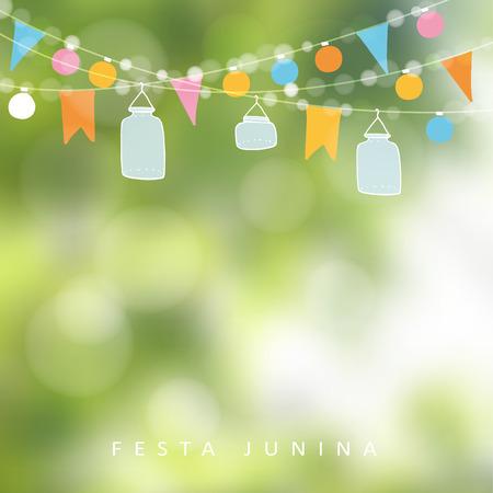 Parte junio brasileña, Junina festa. Cadena de luces, linternas tarro. la decoración del partido. Cumpleaños fiesta en el jardín. fondo borroso, bandera. Ilustración de vector