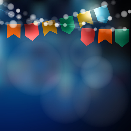 june: Brazilian june party. Festa junina. String of lights, party flags. Party decoration. Festive night,  blurred background.