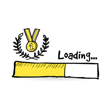 winners: Loading bar with golden medal, laurel wreath. Winner, competition concept.