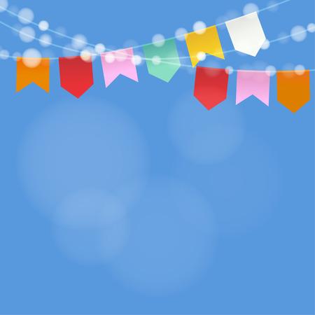 Parte junio brasileña. Junina Festa. Cadena de luces, banderas del partido. fiestas de playa. fondo borroso festivo. Ilustración de vector