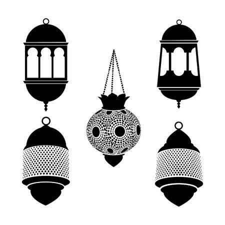 black light: Set of arabic lanterns. Black silhouettes of ramadan lamps.