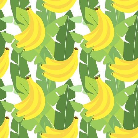 열대 원활한 패턴입니다. 바나나 잎, 바나나 과일. 플랫 디자인. 정글 벡터 일러스트 레이 션 배경 일러스트