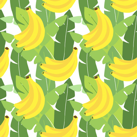 Tropical seamless pattern. Banana leaves, banana fruit. Flat design. Jungle vector illustration background