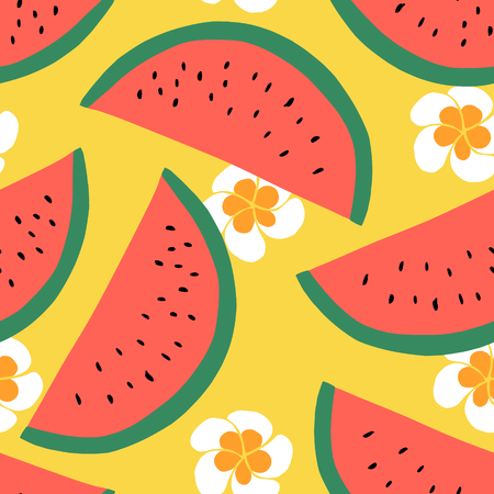 water melon: Watermelon seamless pattern, Summer textile design with fruit and flowers. Hand drawn design. Vector illustration background.