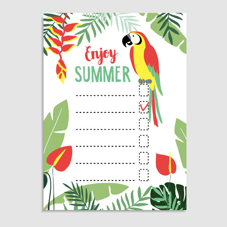 bird of paradise: Summer greeting card, invitation. Wish list. To do list. Parrot bird, palm leaves, anthurium flowers. Web banner, background. Stock vector illustration. Flat jungle design.