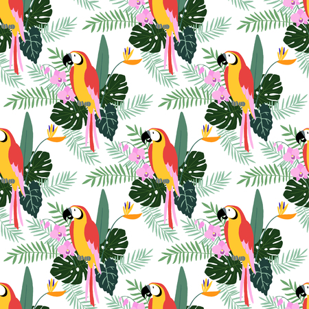 cartoon parrot: Tropical jungle seamless pattern with parrot bird, orchid and strelitzia flowers, palm and monstera leaves, flat design, vector illustration background