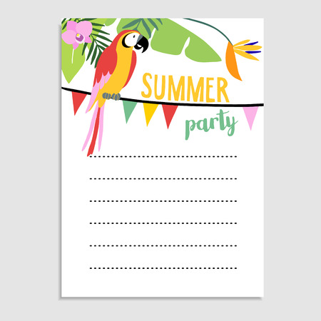 strelitzia: Summer greeting card, invitation. Parrot bird, palm leaves, strelitzia flowers. Party flags decoration.Web banner, background. Stock vector illustration. Flat jungle design. Illustration