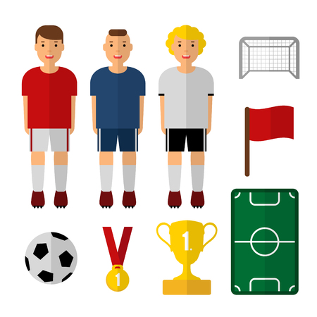 goal cage: Set of soccer, football illustrations. Soccer players. Isolated vectors. Flat design. Web icons. Soccer player, trophy, ball. Illustration