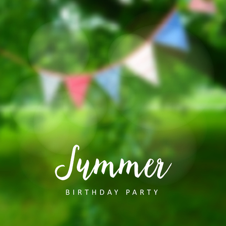 modern garden: Birthday garden party. Brazilian june party. Festa junina. Party decoration, flags. Modern blurred background. Vector illustration.