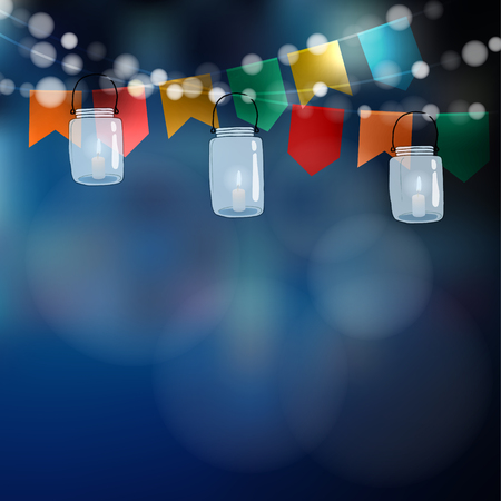 브라질 6 월 정당. 페스타 쥬니 나. 조명, 파티 플래그의 문자열입니다. Jar 등불입니다. 여름 정원 파티 장식입니다. 축제 흐리게 배경입니다. 주식 벡터