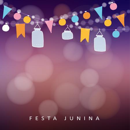 anochecer: Parte junio brasileña, Junina festa. Cadena de luces, linternas tarro. la decoración del partido. Cumpleaños fiesta en el jardín. Borrosa puesta de sol de vectores de fondo, bandera.