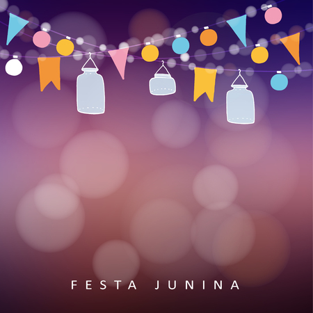 Brazilian june party,  festa junina. String of lights, jar lanterns. Party decoration. Birthday garden party. Sunset blurred vector background, banner.