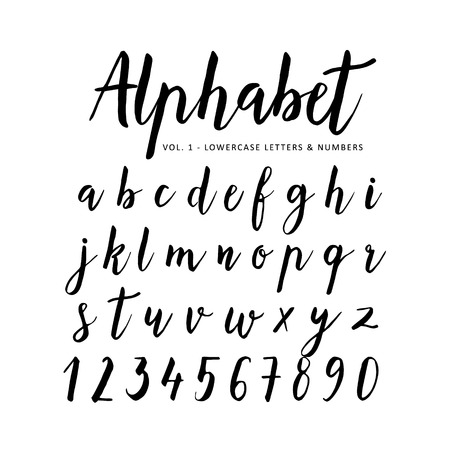 Hand drawn vector alphabet. Script font. Brush font. Isolated letters written with marker, ink. Calligraphy, lettering. Stock Illustratie