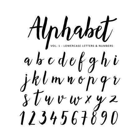 Hand getrokken vector alfabet. Script lettertype. Borstel lettertype. Geïsoleerde brieven geschreven met marker, inkt. Kalligrafie, belettering.