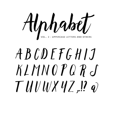 Hand drawn vector alphabet. Script brush font. Isolated letters written with marker, ink. Calligraphy, lettering.