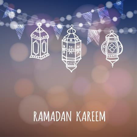ramazan: Ramadan greeting card. Illuminated arabic lanterns. Ramazan decoration. Vector illustration background for muslim holy month Ramadan Kareem.