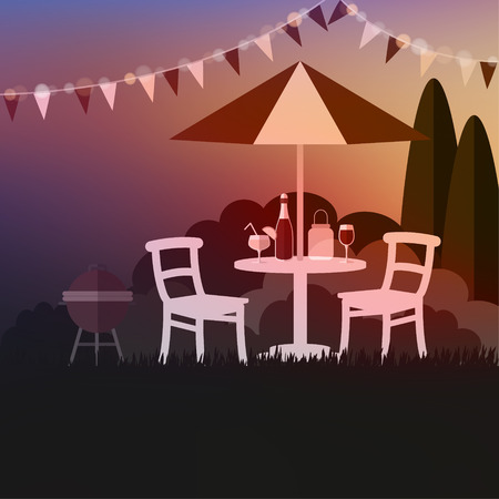lawn chair: Summer garden party. Summer outdoor barbecue. Sunset background. Vacation vector illustration. Illustration