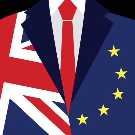 england politics: Brexit concept. British flag, EU flag. EU referendum. Symbol of imminent exit of Great Britain out of the European Union. Vector illustration background.