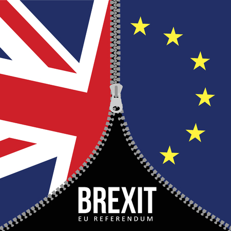 EU: Brexit concept. British flag. EU flag. EU referendum. Symbol of imminent exit of Great Britain out of the European Union. Vector illustration background.
