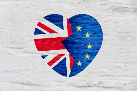 Brexit icon. British flag. EU flag. Broken heart, symbol of exit of Great Britain out of the European Union.