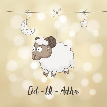 sacrificio: tarjeta de felicitación de Eid-ul-Adha. Decoración con dibujados a mano ovejas, luna, estrellas y luces. festival de la comunidad musulmana del sacrificio.