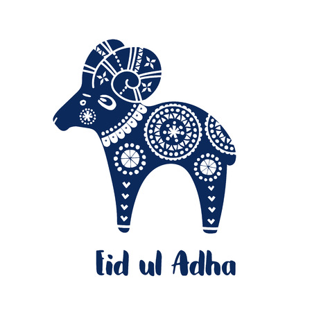 adha: Greeting card with hand drawn sheep and decorative ornaments.