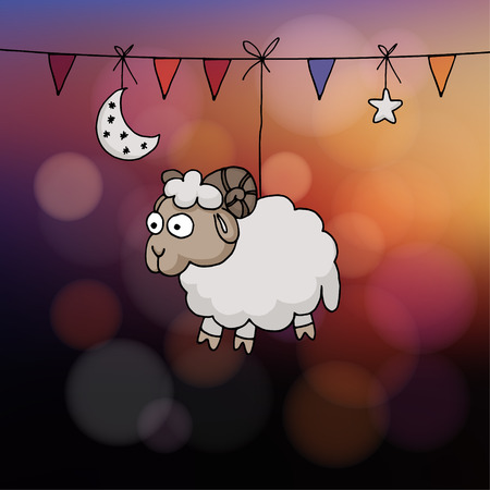 Eid al Adha card. Hand drawn sheep with party flags, the moon, and star. Vector illustration for the Muslim holiday of sacrifice. Modern blurred sunset background with bokeh lights.