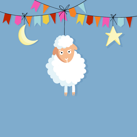 sacrifice: Eid al Adha. Hand drawn sheep with party flags, moon and star. Vector illustration backgroud for Muslim holiday of sacrifice. Flat design.