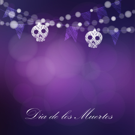 Dia de Los Muertos, Day of the Dead or Halloween card, invitation. String of lights, sculls and party flags. Vector illustration background