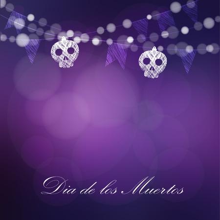 Dia DE Los Muertos, Dag van de Doden of kaart van Halloween, uitnodiging. Koord van lichten, schedels en feest vlaggen. Vector illustratie achtergrond Stock Illustratie
