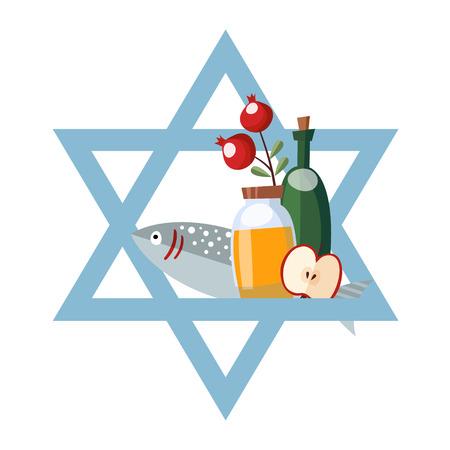 jewish star: Rosh Hashana greeting card, invitation with jewish star, honey, fish, wine and apple. Vector illustration, flat design.