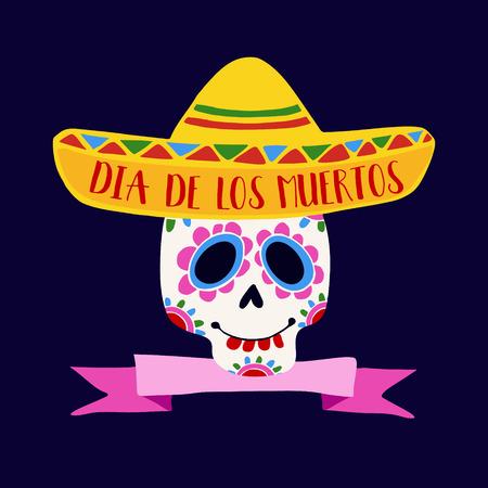 muertos: Dia de Los Muertos greeting card, invitation. Mexican Day of the Dead. Ornamental sugar skull, sombrero hat. Hand drawn vector illustration, background. Illustration