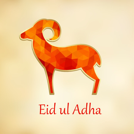 Greeting card, invitation with silhouette of polygonal sheep. Vector illustration background for Eid Ul Adha muslim holiday. Modern low poly design.
