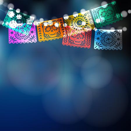 Día de los Muertos, Día mexicano de la tarjeta de Muertos, la invitación. la decoración del partido, cadena de luces, banderas de papel hechos a mano cortada, el cráneo, la decoración floral. Vector ilustración de fondo borroso. Vectores